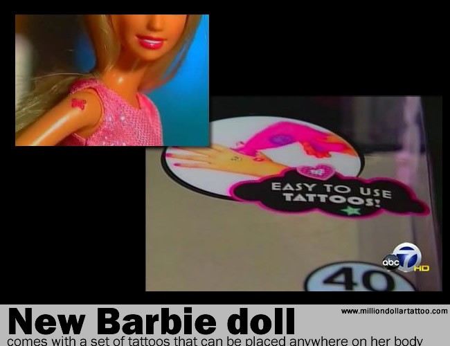 The new Barbie doll comes with a set of tattoos that can be placed anywhere on her body