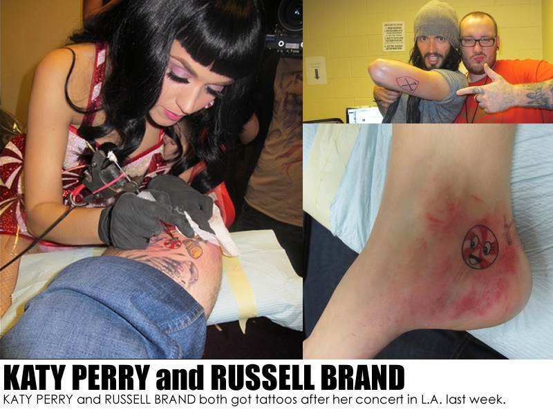 KATY PERRY and RUSSELL BRAND both got tattoos after her concert in L.A. last week.