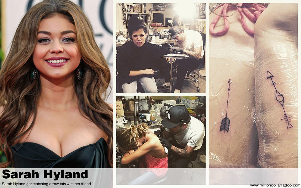 Sarah Hyland got matching arrow tats with her friend.